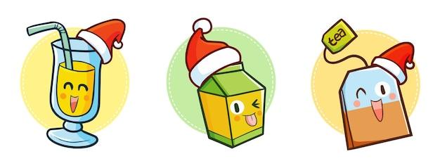 Nette und lustige kawaii drei arten von getränken, die weihnachtsmannmütze für weihnachten tragen