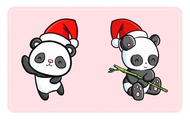 Nette und lustige kawaii pandas, die weihnachtsmannmütze für weihnachten tragen