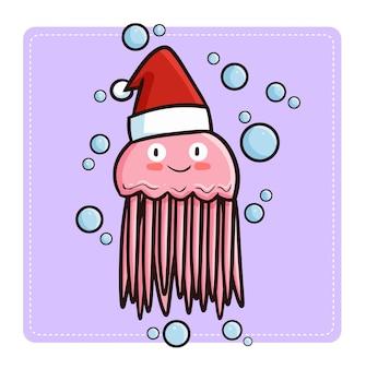 Nette und lustige kawaii rosa qualle, die weihnachtsmannmütze für weihnachten trägt