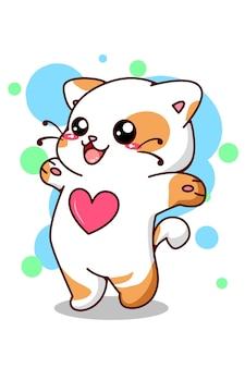 Nette und lustige kleine katze zeigen ihren liebeskarikatur