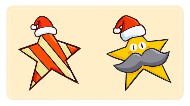 Nette und lustige zwei sterne, die weihnachtsmannmütze für weihnachten tragen
