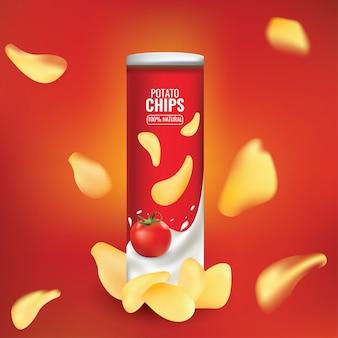 Nette und schöne zusammenfassung oder plakat für das verpacken der chips
