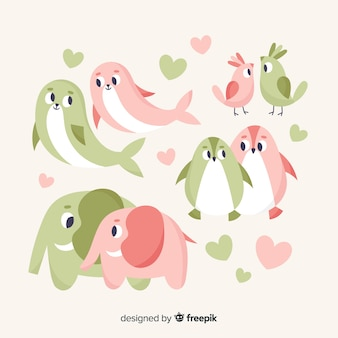Nette valentinsgruß-tierpaarsammlung