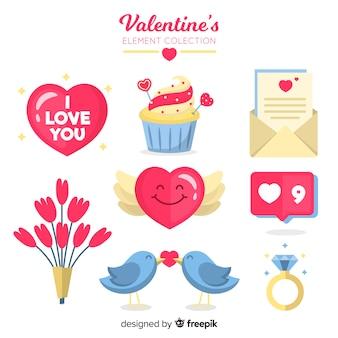Nette valentinsgrußelementsammlung