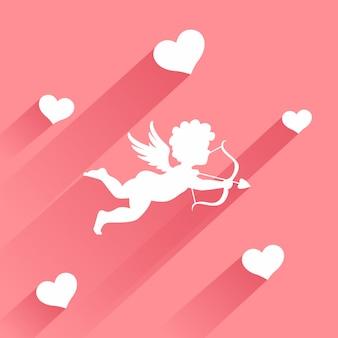 Nette valentinsgrußkarte mit schattenbild des engelsamors mit pfeil