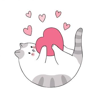 Nette valentinstagkatze der karikatur, die herzvektor spielt.