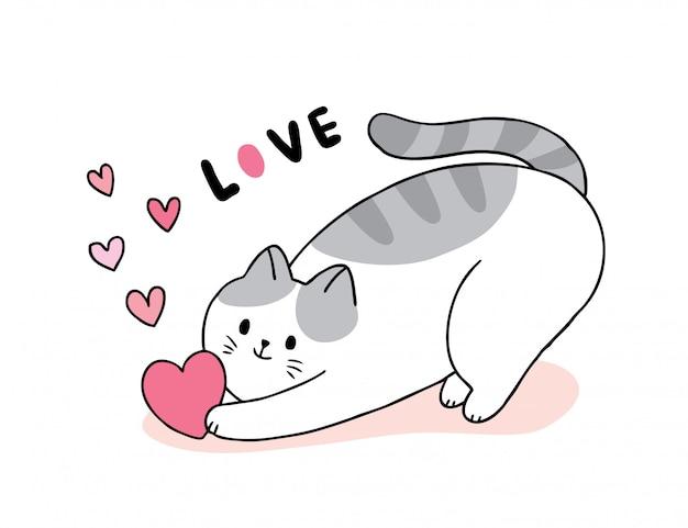 Nette valentinstagkatze der karikatur und herzvektor.