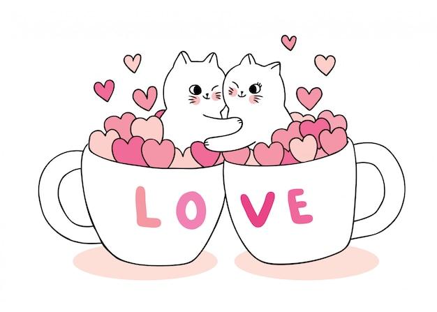 Nette valentinstagliebhaberkatzen und -herzen der karikatur im schalenkaffeevektor.