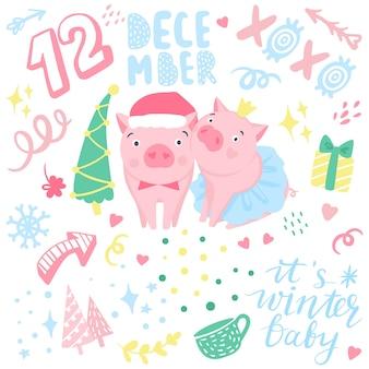 Nette vektoraufkleber mit lustigen rosa schweinen. elemente für das design des neuen jahres. symbol von 2019 im chinesischen kalender. schweinabbildung getrennt auf weiß. cartoon tiere abzeichen.