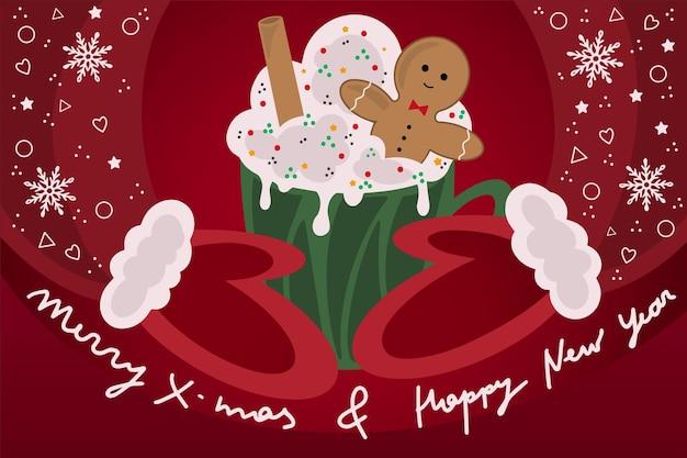 Nette vektorillustration des weihnachtshintergrundes, sankt in den handschuhen, die becher heißes getränk mit süßigkeiten und lebkuchen halten.