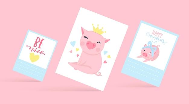 Nette vektorkarten mit lustigen schweinen. schweinabbildung getrennt auf weiß. cartoon-tiere. fröhliche piggy-kollektion.