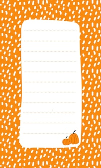 Nette vektornotizlistenschablone für kindernotizkarte auf orangem hintergrund mit kürbisen