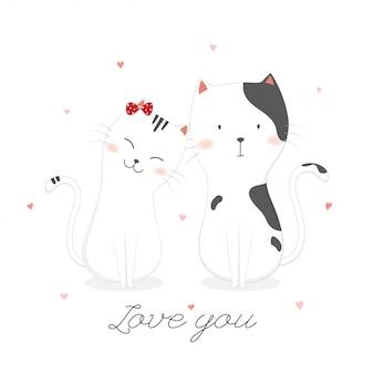 Nette verliebte katzen.