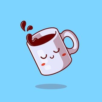 Nette verschlafene tasse mit kaffee-karikatur-symbol-illustration.