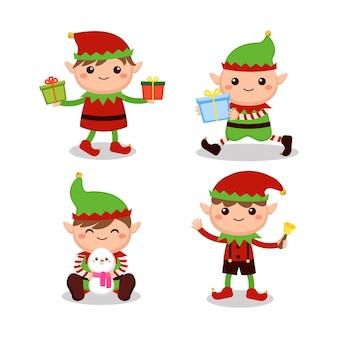 Nette verspielte weihnachtselfen, die verschiedene aktivitäten machen
