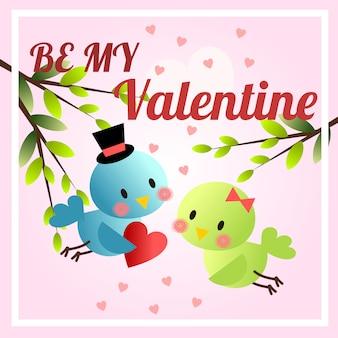 Nette vögel im valentinstagthema. sei mein valentinstag hintergrund.