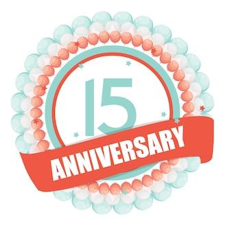 Nette vorlage 15 jahre jubiläum mit luftballons und band vect