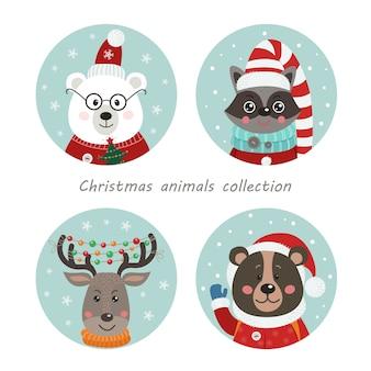 Nette waldtiere in den weihnachtsrahmen