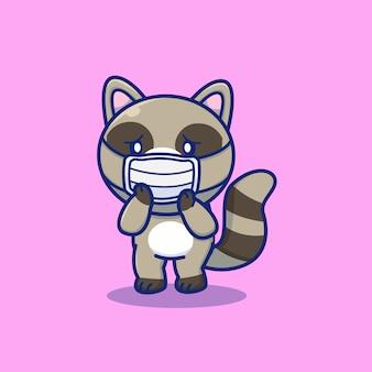 Nette waschbären tragen maske cartoon icon illustration. tier maskottchen charakter. gesundheitstier-symbol-konzept isoliert