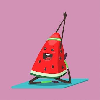 Nette wassermelone, die yogaübung macht. lustige karikaturfruchtfigur lokalisiert auf einem hintergrund. gesund essen und fit.