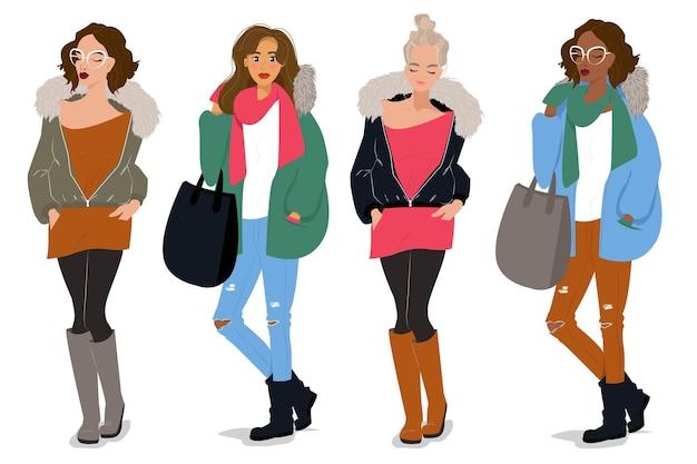 Nette weibliche charaktere im herbst- und winterkleidungsmodeillustrationsvektor im iflet-stil