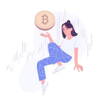 Nette weibliche figur, die bitcoin hält