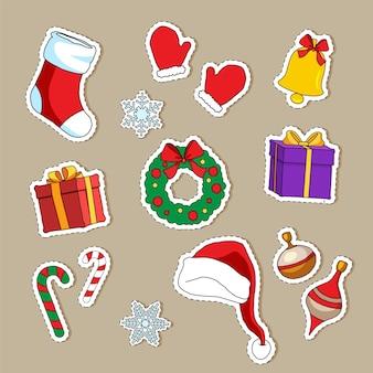 Nette weihnachtsaufkleber-sammlung und element für weihnachten