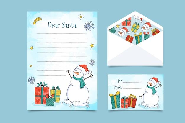 Nette weihnachtsbriefpapierschablone mit schneemann