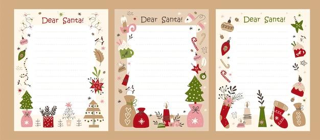Nette weihnachtsbriefschablone. bereit zum drucken