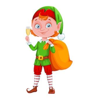 Nette weihnachtselfen-zeichentrickfigur