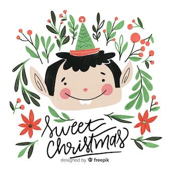 Nette weihnachtselfenbeschriftung