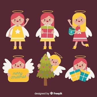 Nette weihnachtsengelsammlung im flachen design