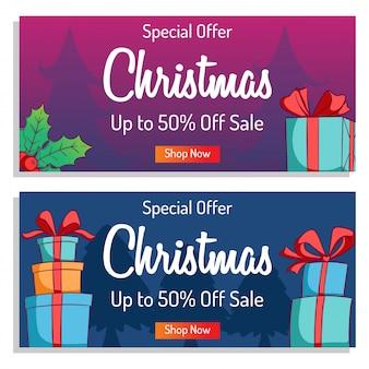 Nette weihnachtsfahne für einkaufsverkauf oder promo mit buntem