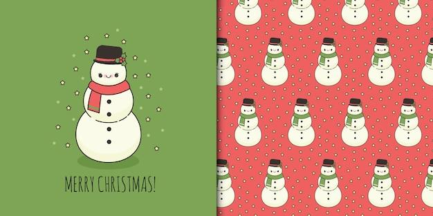 Nette weihnachtsgrußkarte mit schneemann und nahtlosem muster