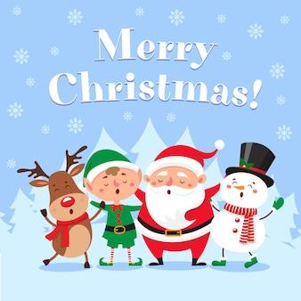 Nette weihnachtsgrußkarte. singender weihnachtsmann, lustiger schneemann und elfe auf winterschnee-partyabbildung