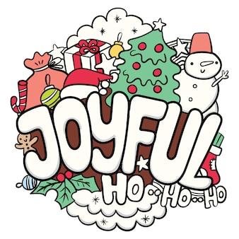 Nette weihnachtshand gezeichnetes gekritzel