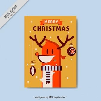 Nette weihnachtskarte mit einem schönen rentiere