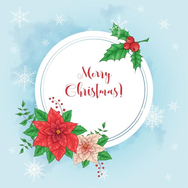 Nette weihnachtskarte mit poinsettiakranz und platz für text.