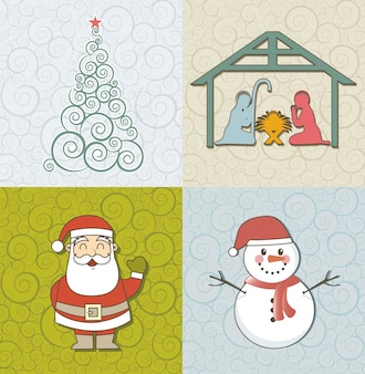 Nette Weihnachtskartenweinleseart-Vektorillustration