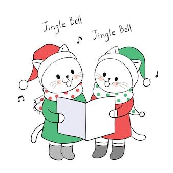 Nette Weihnachtskatzen der Karikatur singen einen Liedvektor.