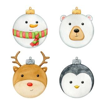 Nette weihnachtskugeln mit gesichtern im aquarell