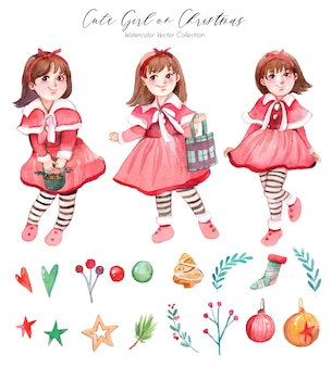 Nette weihnachtsmädchen-aquarell-sammlung
