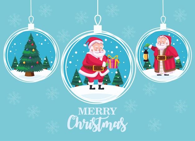 Nette weihnachtsmänner groupin bälle hängen comicfiguren illustration