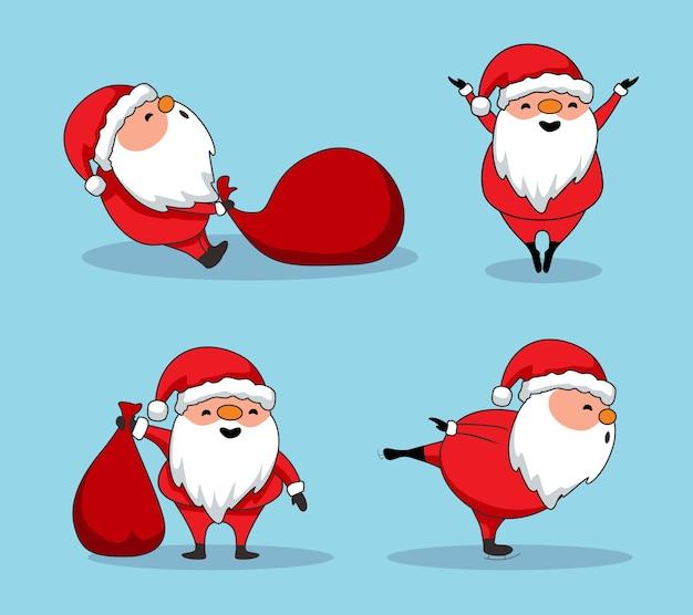 Nette weihnachtsmann-karikatur frohe weihnachten