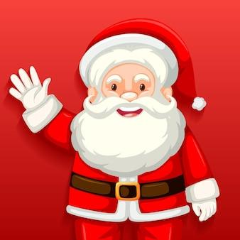 Nette weihnachtsmann-karikaturfigur auf rotem hintergrund