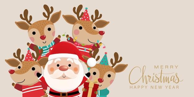 Nette weihnachtsmann- und hirschillustration