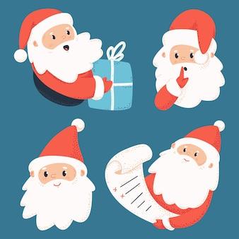Nette weihnachtsmann-zeichen mit buchstaben und geschenkbox auf hintergrund gesetzt.