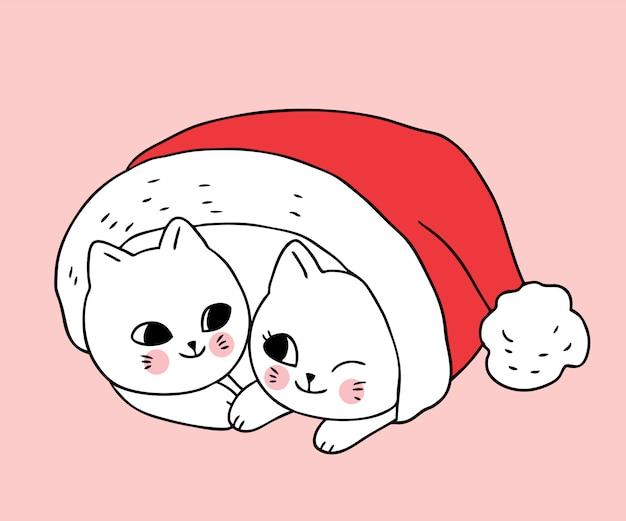 Nette weihnachtspaarkatzen der karikatur im roten hut sankt.