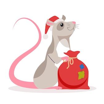 Nette weihnachtsratte. tierfigur in weihnachtsmannmütze. 2020 jahr der ratte. illustration mit stil