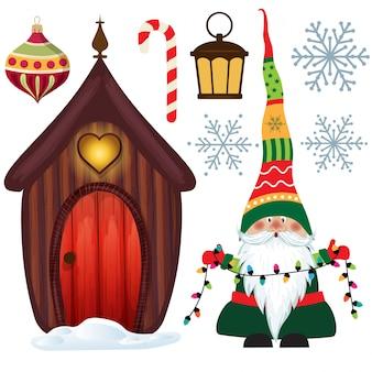 Nette weihnachtssammlung lokalisiert auf weiß